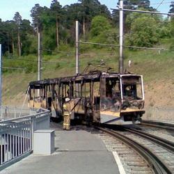 На Кузнецком мосту сгорел трамвай (ФОТО)