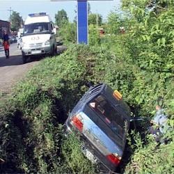 В Кемерове перевернулось такси