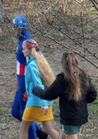 В Кемерове появился герой американских комиксов Капитан Америка (фото очевидцев)