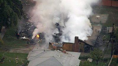 В Сети появилось видео с последствиями падения самолёта в Калифорнии