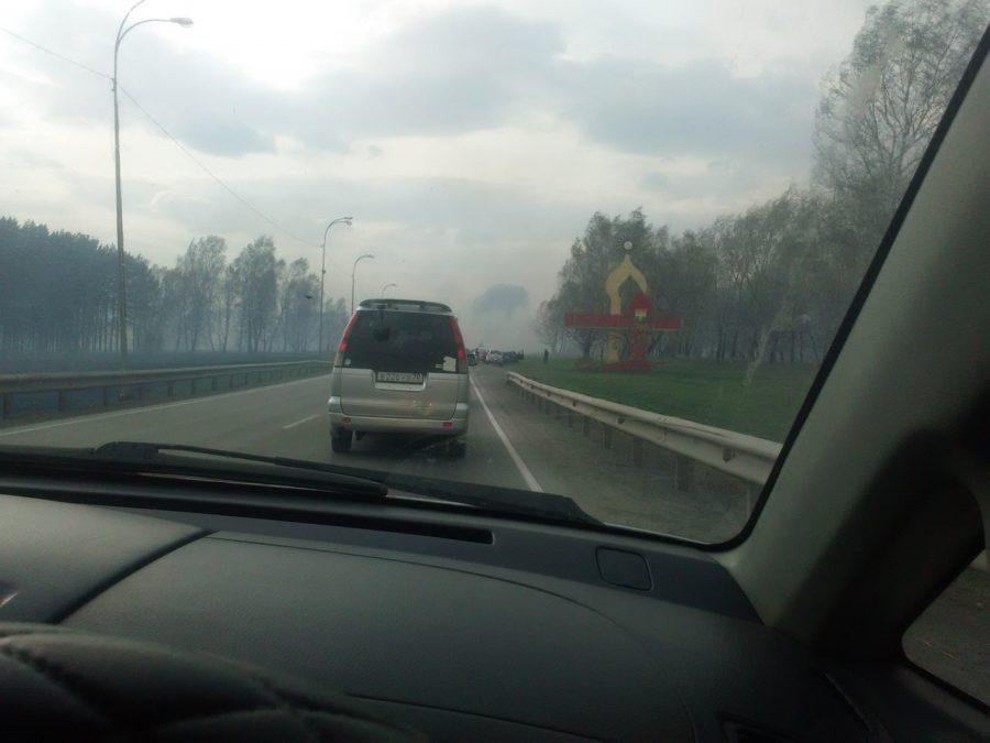 На автодороге Кемерово — Топки произошло ДТП из-за сильного задымления