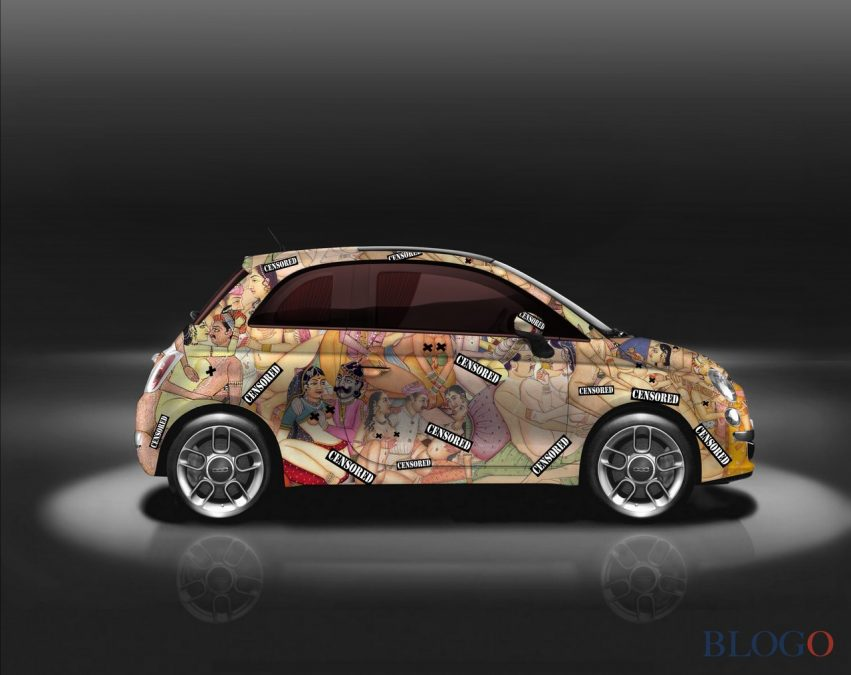 Кузов хэтчбека Фиат 500 покрыли иллюстрациями из«Камасутры»