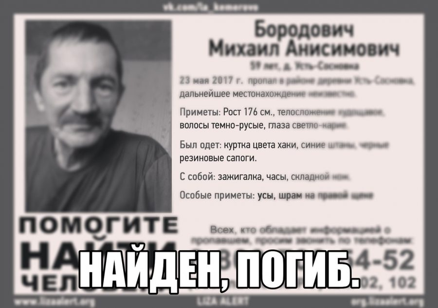 В Кузбассе нашли мёртвым пропавшего в мае рыбака