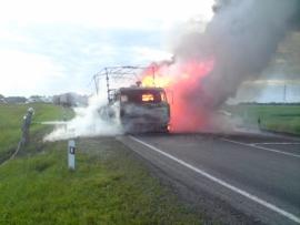 Ночью на трассе в Кузбассе сгорел автомобиль