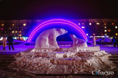 В Кемерове на бульваре Строителей открыли снежный городок