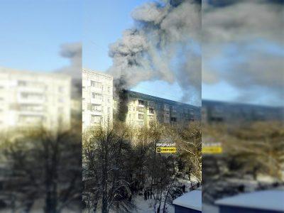 Видео: в Кемерове загорелась квартира в жилом девятиэтажном доме