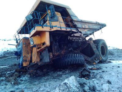 Фото: на кузбасском разрезе разбился БелАЗ