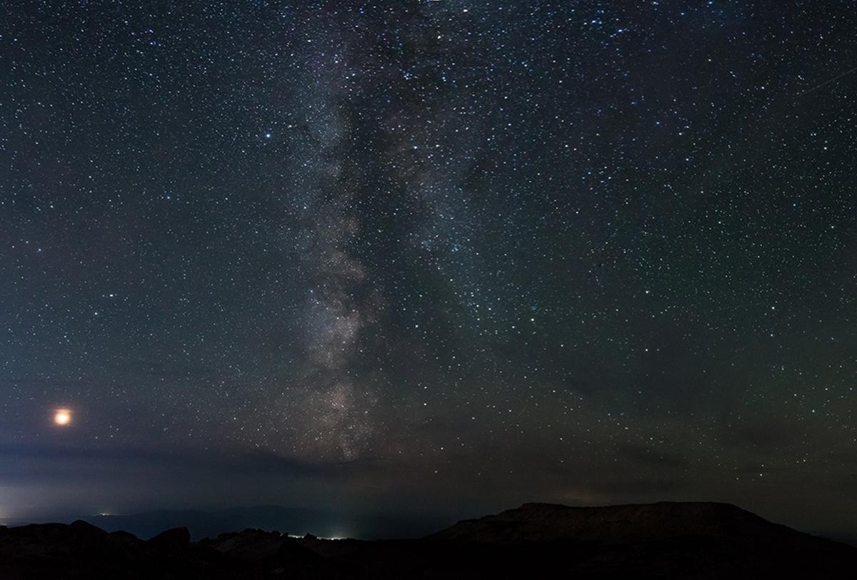 Млечный путь в панораме с Южного Мустага