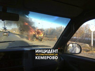 «Красиво горит!»: водитель-комментатор снял на видео полыхающий внедорожник в Кемерове