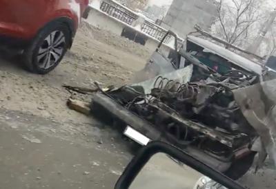 Видео: новокузнецкая маршрутка разнесла «Москвич»