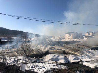 Видео: страшный пожар в Шерегеше